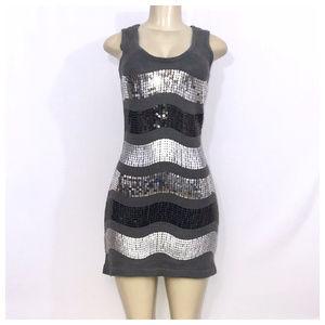 XoXo Gray Sequin Mini Sweater Dress Small